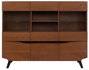 Шкаф-витрина Black Red White Madison REG3D2W2S Brown Oak, 162x42x130 см