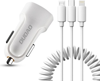 Dudao R7 Dual USB Charger + Lightning/USB Type-C/Micro USB Cable White