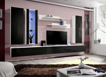 Dzīvojamās istabas mēbeļu komplekts ASM Fly E Vertical Glass White/Black Gloss