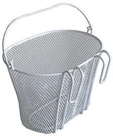 Front Bicycle Basket With Hooks & Handle White