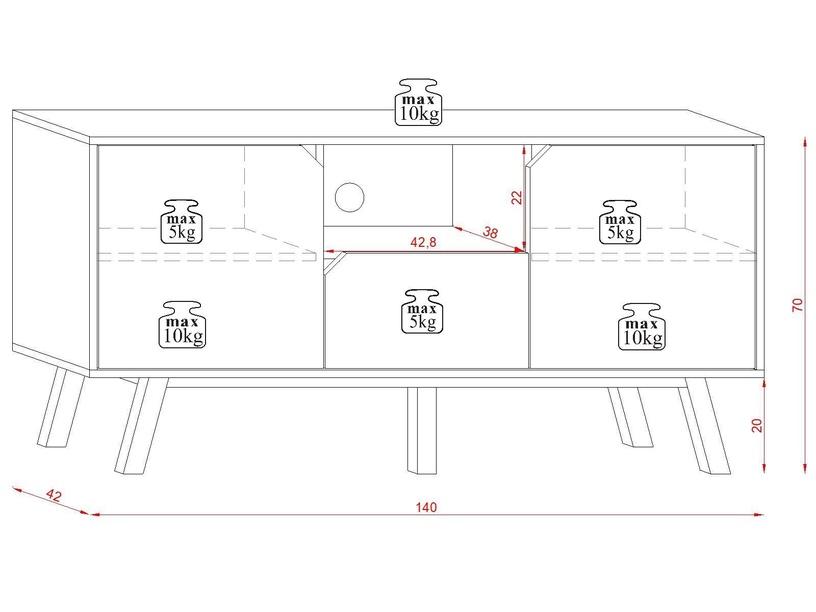 ТВ стол Vivaldi Meble Tokio Gold Craft, белый/дубовый, 1400x420x700 мм