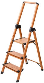 Tatkraft Aluminium 3-Step Ladder Scandinavian Wood Style