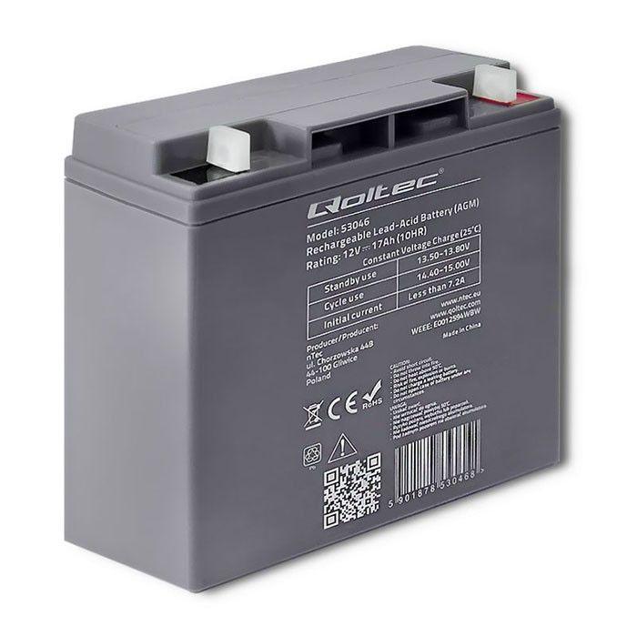 Qoltec AGM Battery 12V 17Ah Max 255A