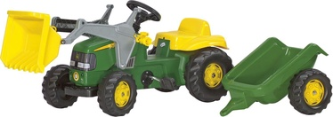 Детская машинка Rolly Toys John Deere Tractor With Frontloader & Trailer 023110, желтый/зеленый