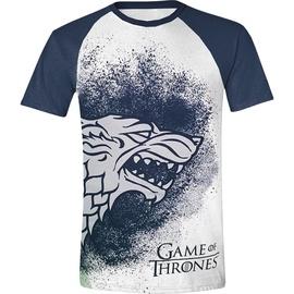 Licenced Game Of Throne Painted Stark Raglan T-Shirt White/Blue M