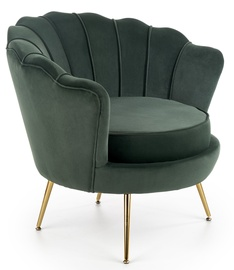 Atzveltnes krēsls Halmar Amorinito, zelta/zaļa, 83x77x77 cm
