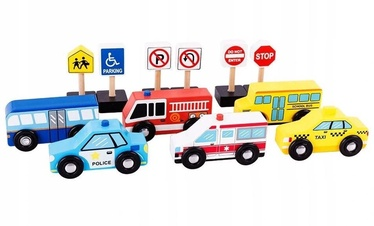 EcoToys Set Of 6 Cars And Road Signs