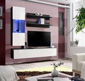 Dzīvojamās istabas mēbeļu komplekts ASM Fly H Horizontal Glass Black/White Gloss