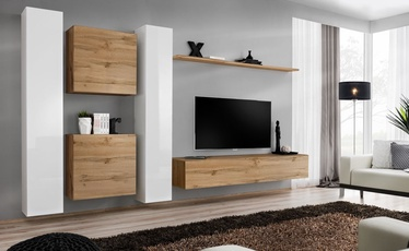Dzīvojamās istabas mēbeļu komplekts ASM Switch VI, balta/ozola