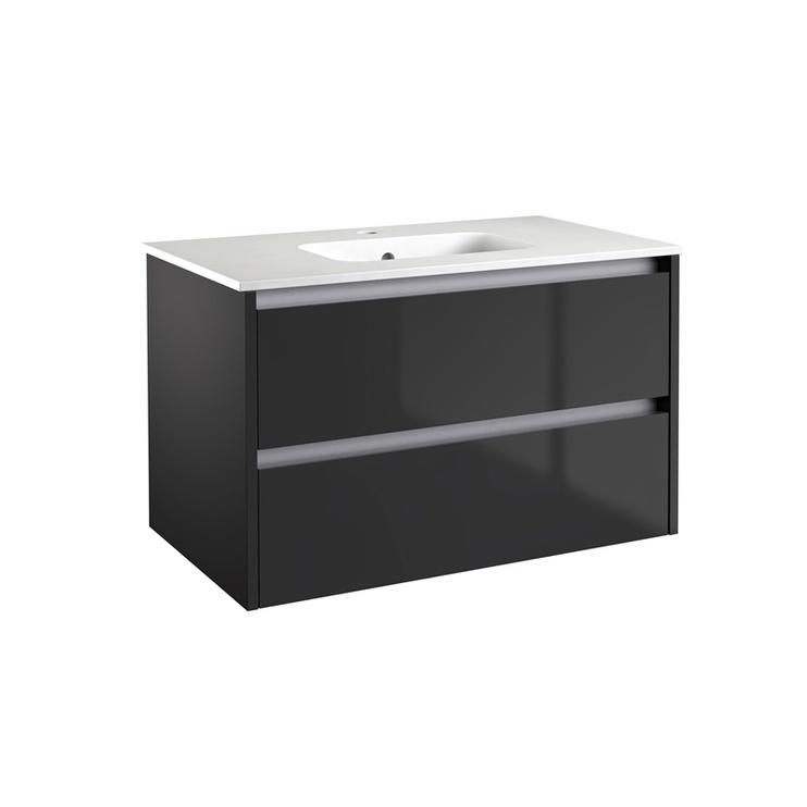 Skapis Kame Verona VR80-W2DRA Cabinet with Basin Black