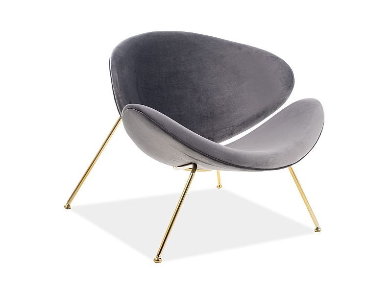 Atzveltnes krēsls Signal Meble Major Velvet Grey/Gold, 84x49x72 cm