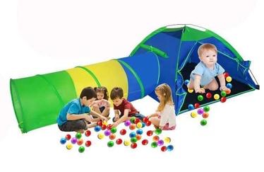Bērnu rotaļu telts ar tuneli un krāsainām bumbiņām