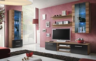 Dzīvojamās istabas mēbeļu komplekts ASM Galino F Plum/Black Gloss/Plum