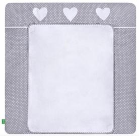 Matracis autiņu maiņai Lulando Dots On Grey/Heart, 76x76 cm, balta/pelēka