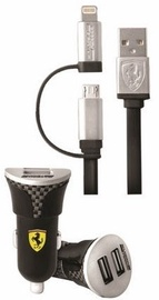 Ferrari Dual USB Car Charger With Micro USB/Apple Lightning Cable Black