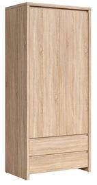 Skapis Black Red White Kaspian Sonoma Oak, 90x55.5x200.5 cm