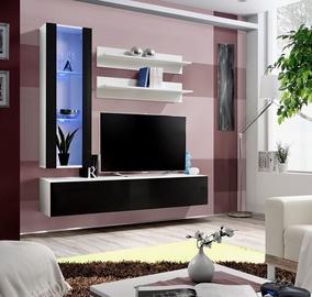 Dzīvojamās istabas mēbeļu komplekts ASM Fly H Vertical Glass White/Black Gloss