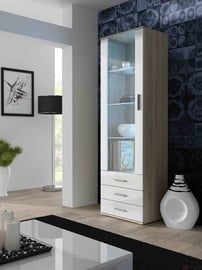 Vitrīna Cama Meble Soho S1, balta/ozola, 60x41x192 cm