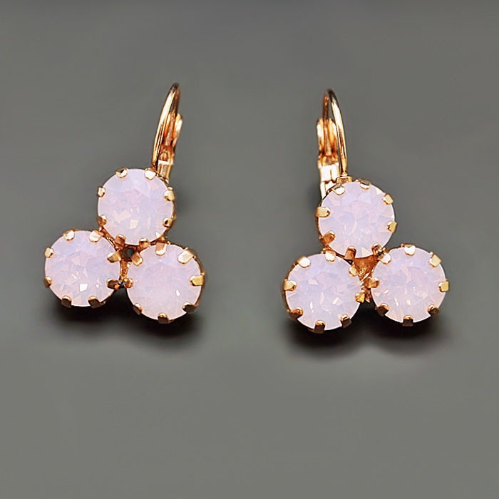Diamond Sky Earrings With Crystals From Swarowski Crystal Lady II Rose Water Opal