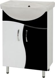 Vannas istabas skapis ar izlietni Sanservis SL-56-ХВ Solas-56 Black 56.5x85x44.5cm