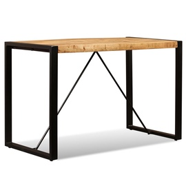 Pusdienu galds VLX Solid Rough Mango Wood 243996, brūna/melna, 1200 mm x 600 mm x 760 mm