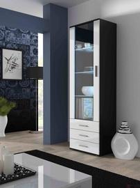 Шкаф-витрина Cama Meble Soho S1, белый/черный, 60x41x192 см