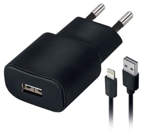 Forever TC-01 USB Wall Charger + Apple Lightning Cable 1.2m Black