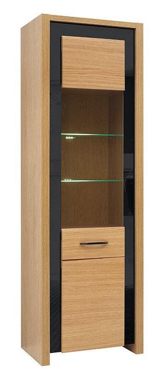 Black Red White Arosa LED Glass Door Cabinet Oak/Black Gloss