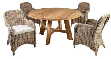 Āra mēbeļu komplekts Home4you Katalina K420551, brūns, 4 sēdvietas