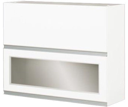 Augšējais virtuves skapītis Bodzio Top with Glass Sandi 80 White, 800x310x720 mm