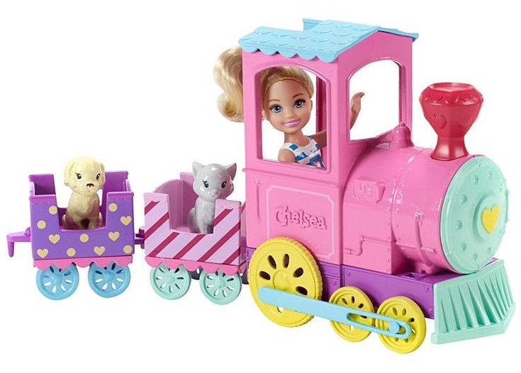 Lelle Mattel Barbie Chelsea Club With Train And Pets FRL86