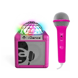 Bezvadu skaļrunis iDance Party Speaker Disco Light + Mic Pink, 5 W