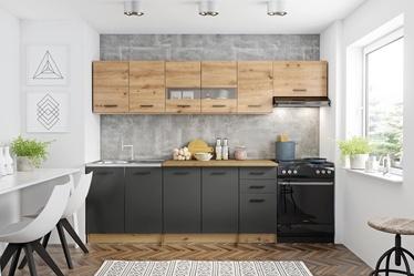 Кухонный гарнитур Halmar Perla 260, серый/дубовый, 2.6 м