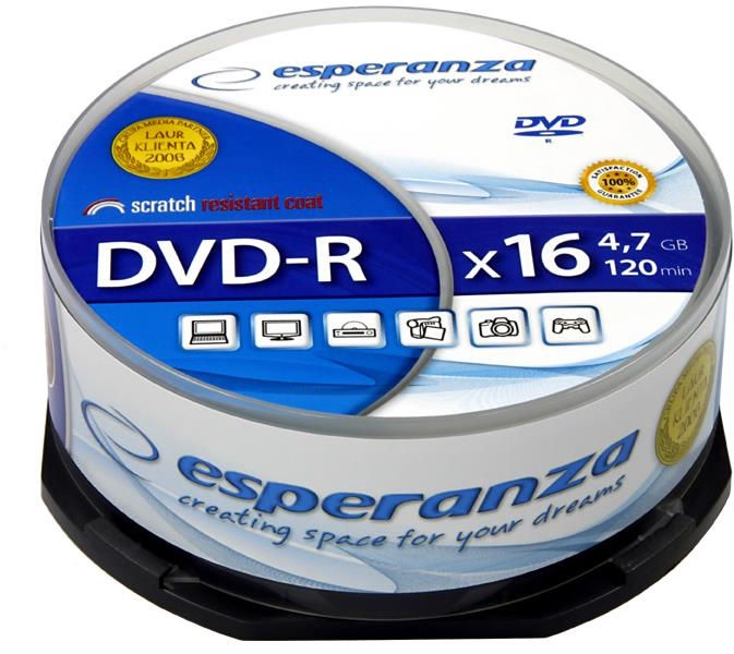 Esperanza 1110 DVD-R 16x 4.7GB Cake Box 25DVD's