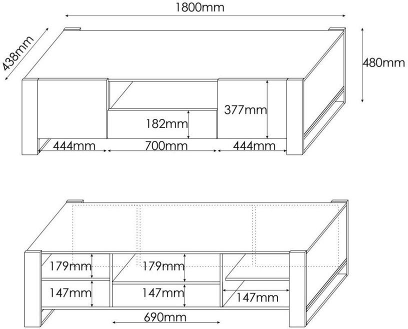 ТВ стол Cama Meble Wood, коричневый/черный/серый/дубовый, 1800x440x480 мм