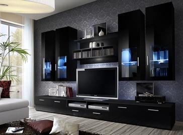 Dzīvojamās istabas mēbeļu komplekts ASM Lyra Black