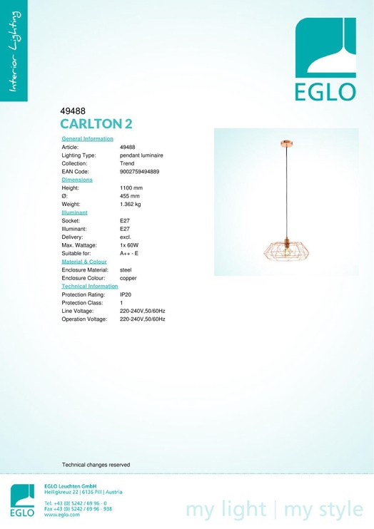 Eglo 252431 CARLTON