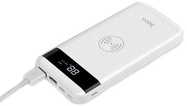 Hoco Multi Port Wireless Qi Plate Power Bank 10000mAh White