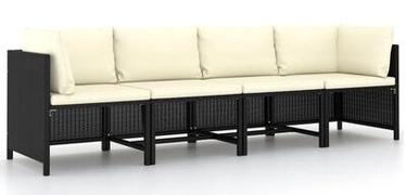 Садовый диван VLX Poly Rattan, черный, 228 см x 60 см x 60 см