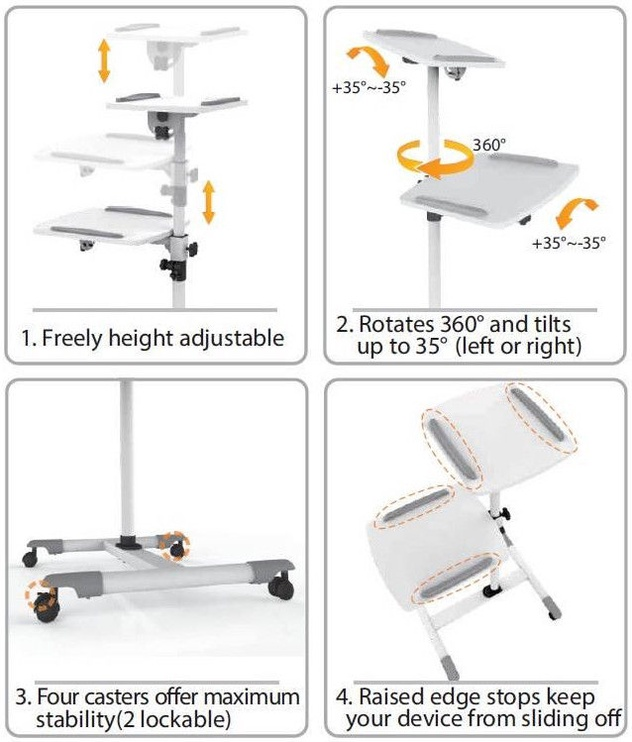 Statīvs Techly 309593 Universal Trolley for Notebook / Projector White