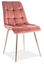 Ēdamistabas krēsls Signal Meble Modern Chic Velvet, rozā/hroma