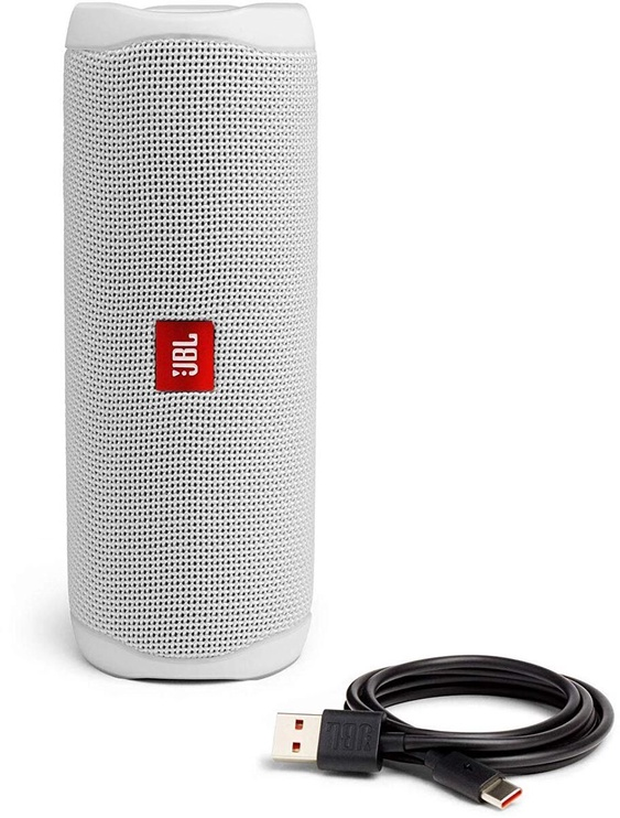 Bezvadu skaļrunis JBL Flip 5, balta, 20 W