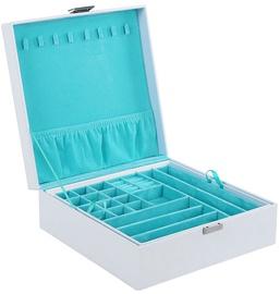 Juvelierizstrādājumu kaste Songmics Jewelery Box, balta/gaiši zila