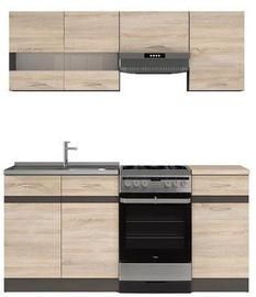 Кухонный гарнитур Black Red White Junona, коричневый/дубовый, 1.7 м