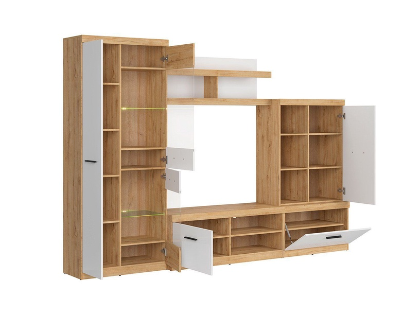 Black Red White Evora 1 Wall Unit Oak Minerva/White