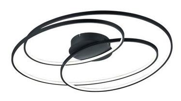 Trio Gale matēts melns 80cm diametra griestu LED gaismeklis, 50W, 5250lm, 3000k, trīspakāpju slēdža aptumšošanas funkcija