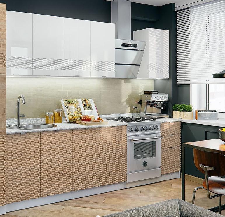 Virtuves komplekts MN Wave 3D Brown, 1.8 m