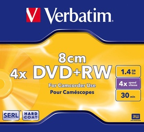 Verbatim DVD+RW 8cm Camcorder 4X 1.4GB Matte Silver Jewel Box
