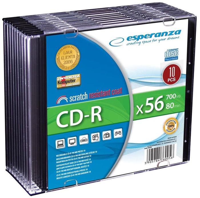 Esperanza 2008 CD-R 56X 700MB 10 Pack Slim Jewel Case