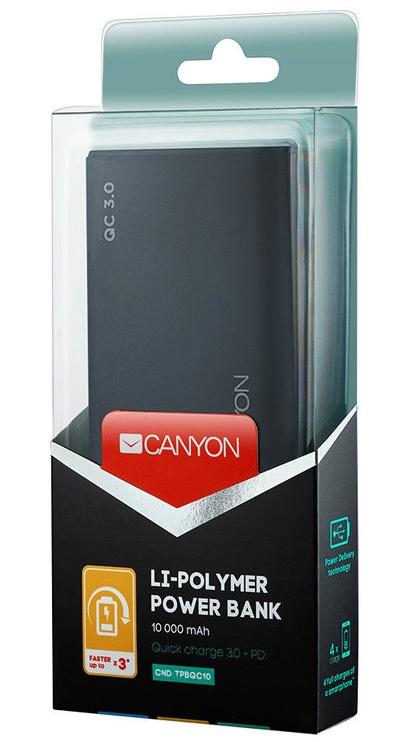 Ārējs akumulators Canyon CND-TPBQC10B Black, 10000 mAh
